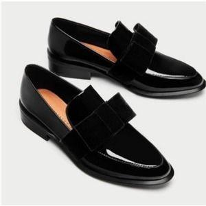 Zara Vegan Patent Leather Velvet Bow Flat Loafer 8